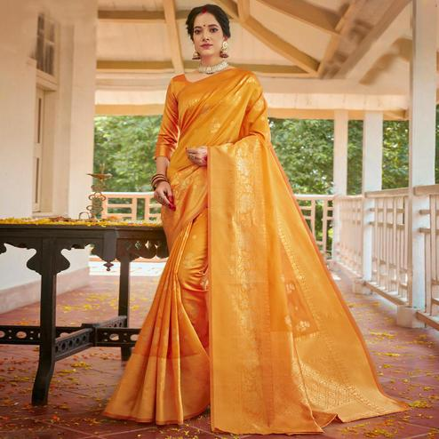Triveni - Yellow Color Art Silk Party Wear Saree With Blouse Piece