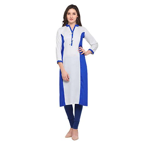 White-Blue Colored Casual Wear Pure Rayon Kurti