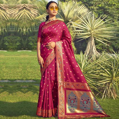 Triveni - Pink Color Jacquard Silk Party Wear Saree With Blouse Piece