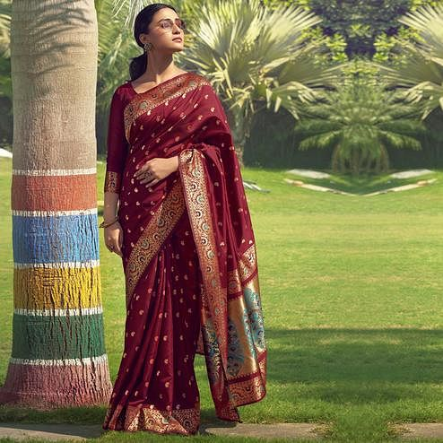 Triveni - Maroon Color Jacquard Silk Party Wear Saree With Blouse Piece