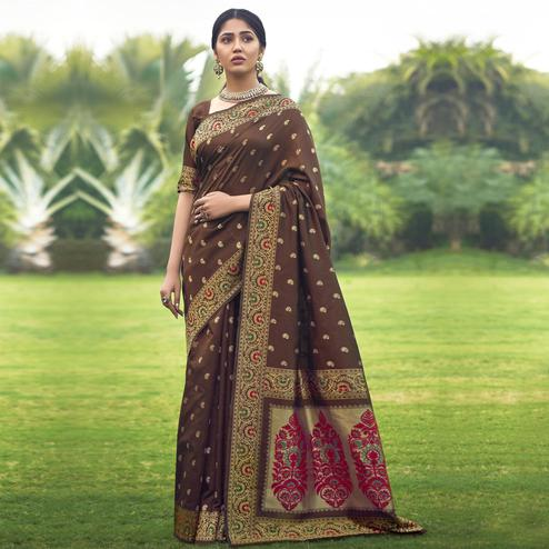 Triveni - Brown Color Jacquard Silk Party Wear Saree With Blouse Piece
