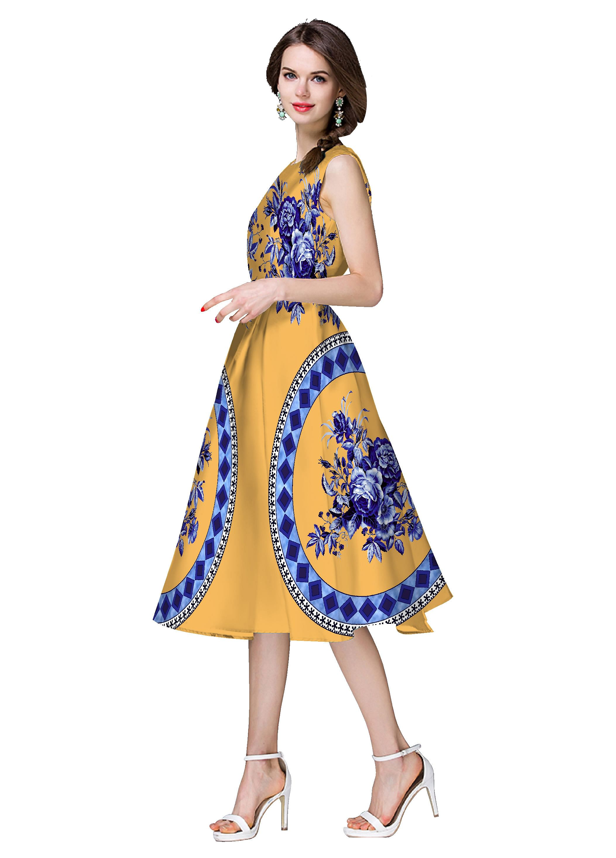 Light Orche Yellow Satin Dress
