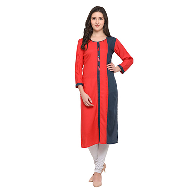 Red-Navy Blue Colored Casual Wear Pure Rayon Kurti