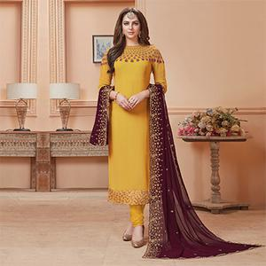 Stunning Yellow Designer Embroidered Georgette Suit