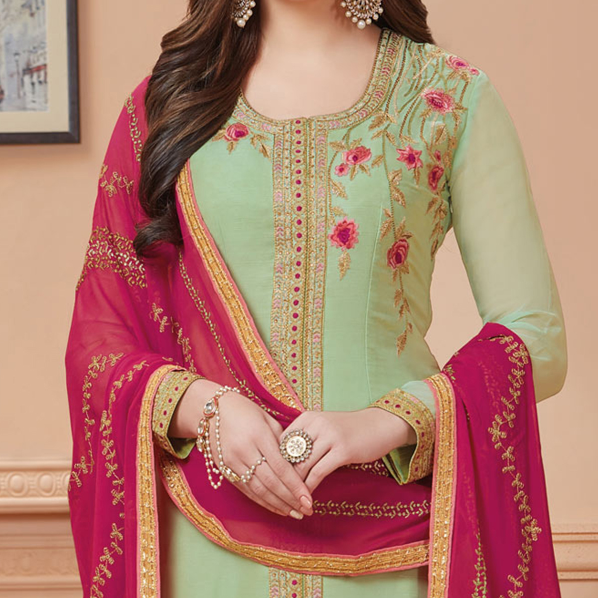 Appealing Pastel Green Designer Embroidered Georgette Suit