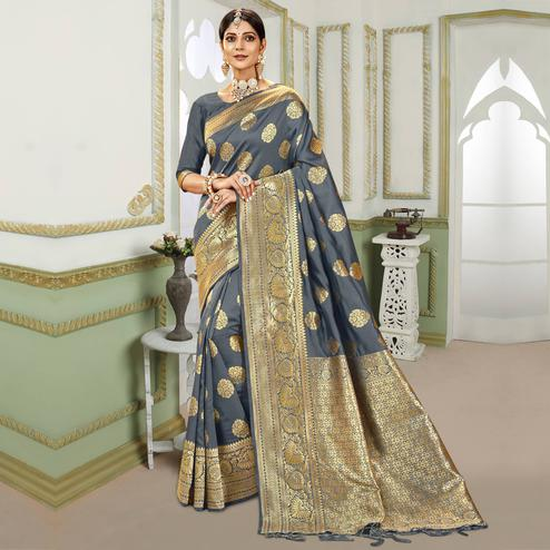 Triveni - Grey Color Jacquard Silk Party Wear Saree With Blouse Piece