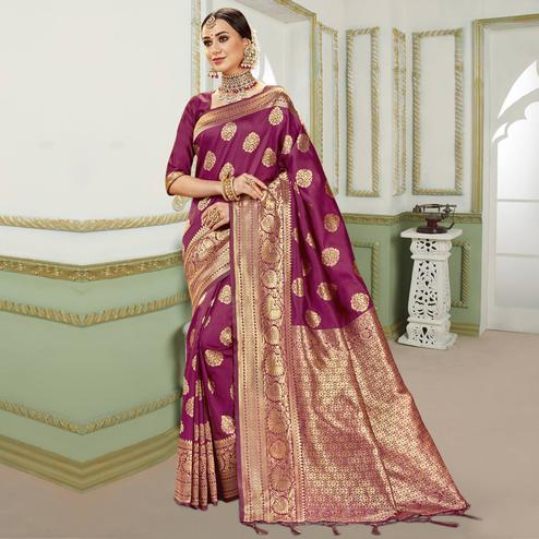 Triveni - Magenta Color Jacquard Silk Party Wear Saree With Blouse Piece