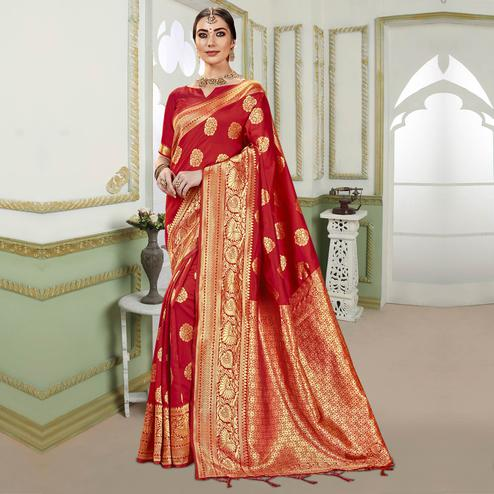 Triveni - Red Color Jacquard Silk Party Wear Saree With Blouse Piece
