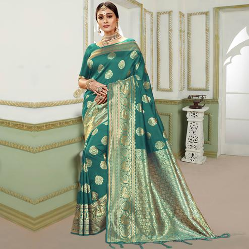 Triveni - Dark Green Color Jacquard Silk Party Wear Saree With Blouse Piece