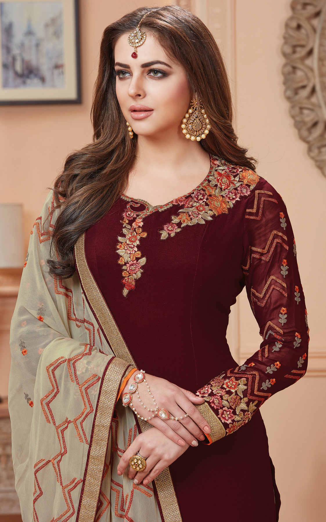 Mesmerising Brown Designer Embroidered Georgette Suit
