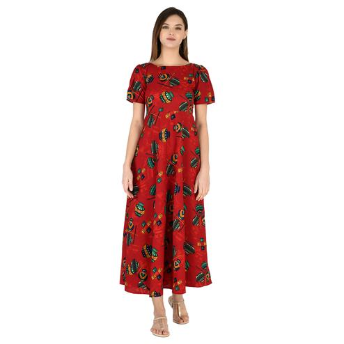 OMADAM - Red Colored Casual Printed Crepe Dress