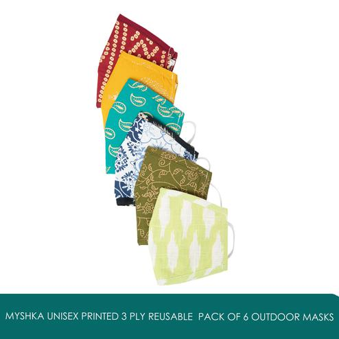 Myshka - Unisex Printed 3 Ply Reusable Pack of 6 Outdoor Masks