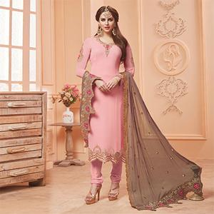 Lovely Pink Designer Embroidered Georgette Suit