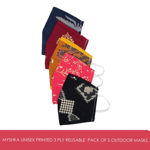 Myshka - Unisex Printed 3 Ply Reusable Pack of 5 Outdoor Masks