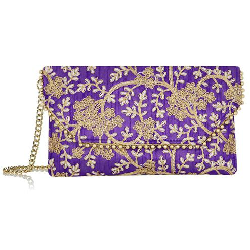 Lelys - Traditional Sling Bag With Embroidery Purple Color
