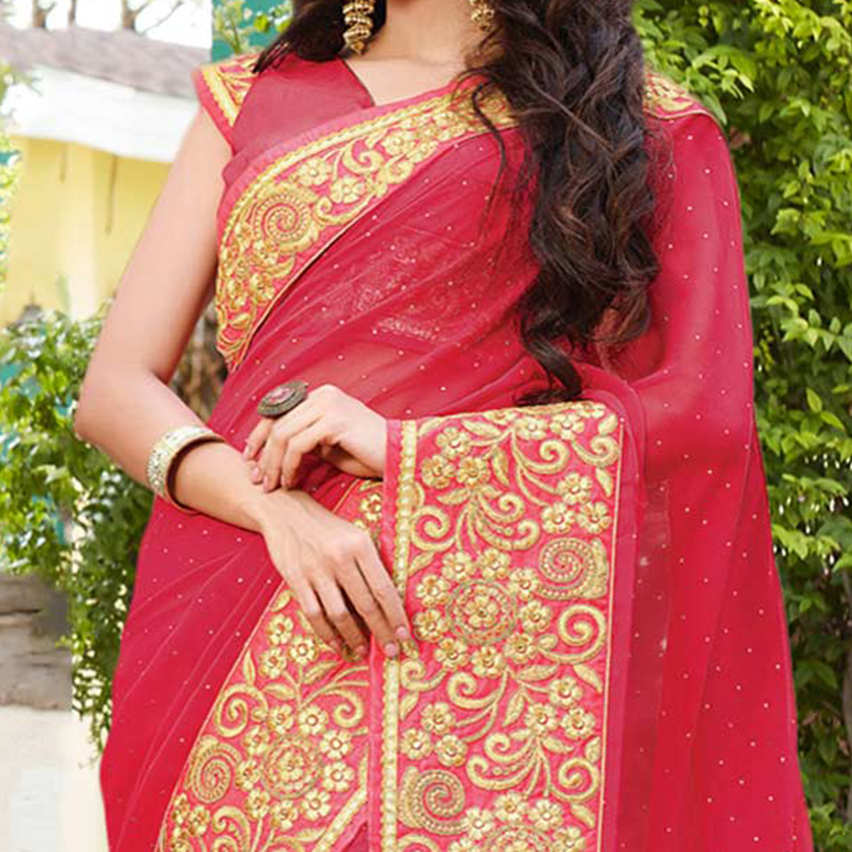 Pink Embroidered Party Wear Georgette Saree