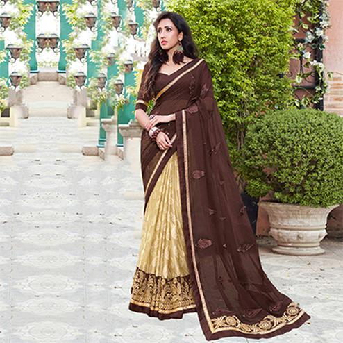 Beige And Brown Embroidered Party Wear Chiffon Saree