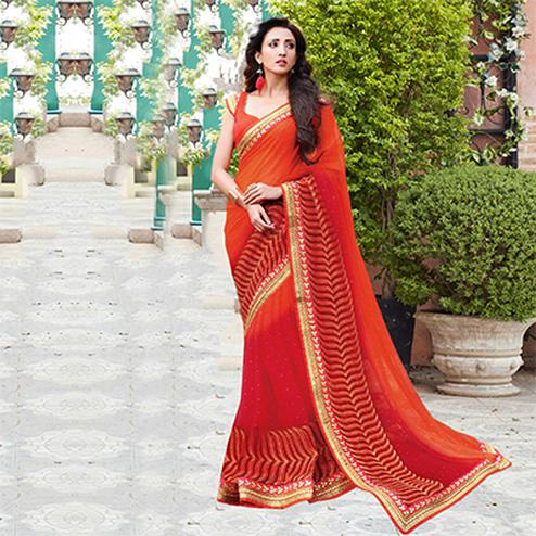 Orange Embroidered Party Wear Chiffon Saree