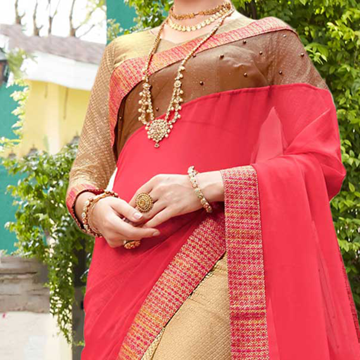 Beige And Pink Embroidered Party Wear Georgette Saree