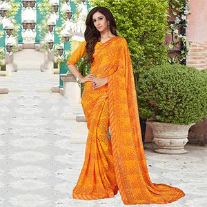 Musturd Yellow Casual Printed Georgette Saree