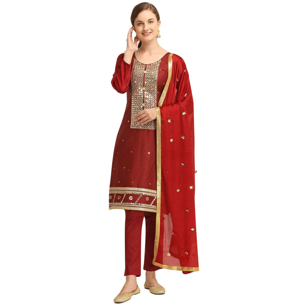 Adorable Maroon Colored Partywear Woven Soft Jam Cotton Dress Material