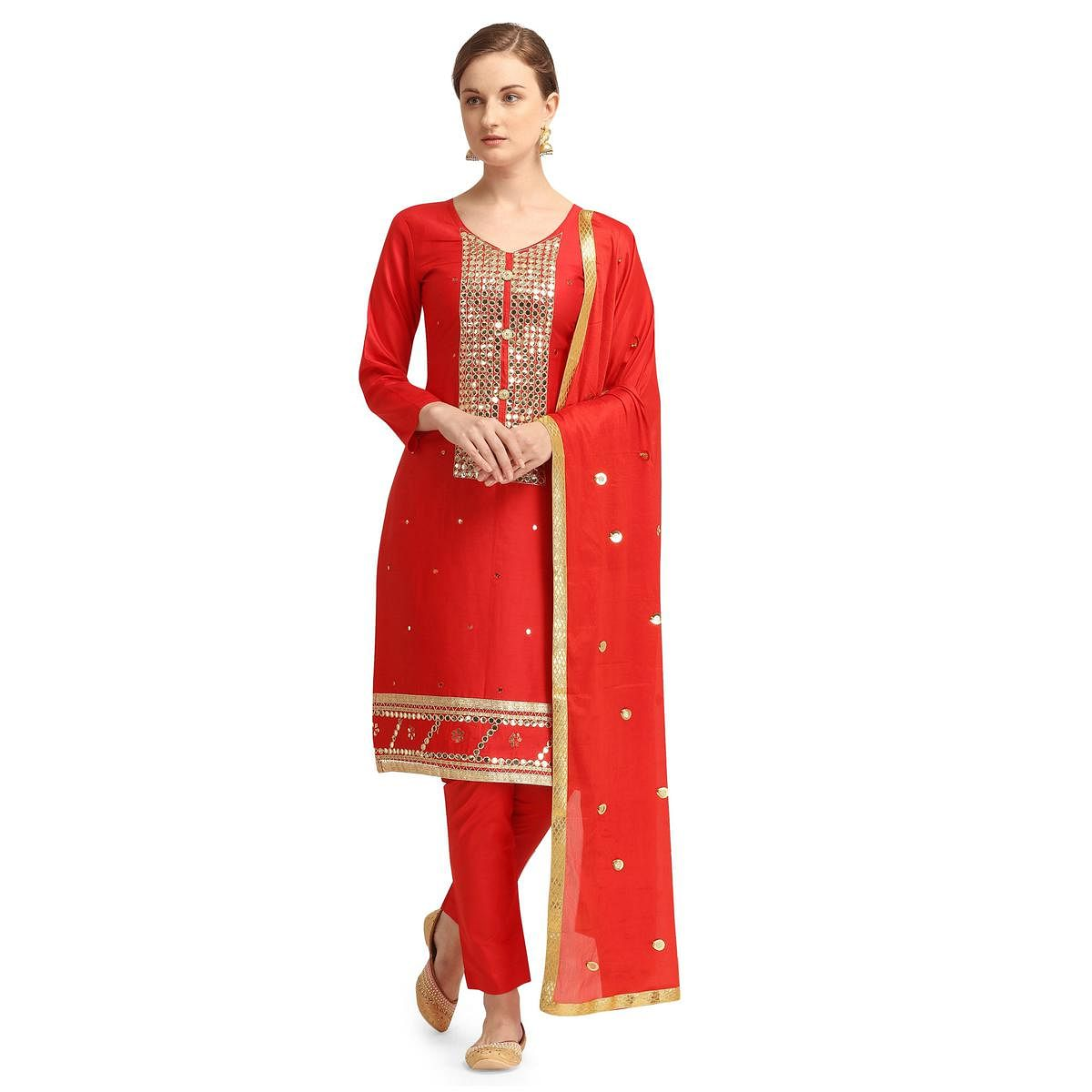 Attractive Red Colored Partywear Woven Soft Jam Cotton Dress Material