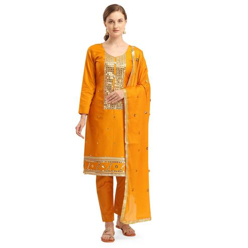 Charming Mustard Colored Partywear Woven Soft Jam Cotton Dress Material