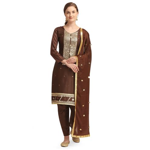 Jazzy Coffee Brown Colored Partywear Woven Soft Jam Cotton Dress Material