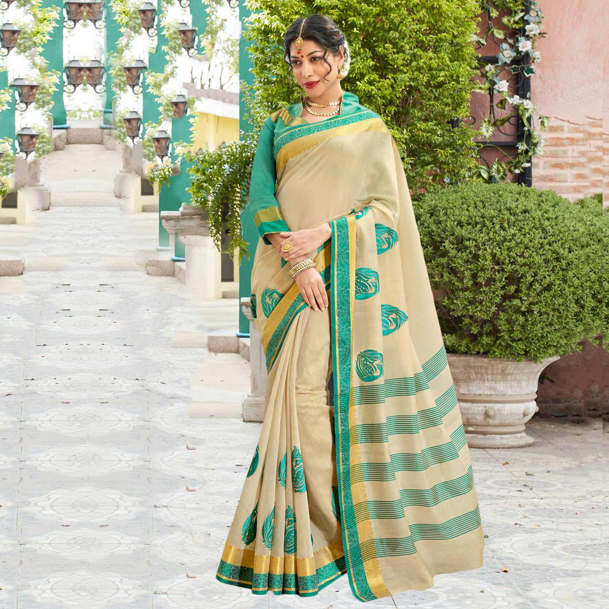 Cream Festive Wear Cotton Silk Saree