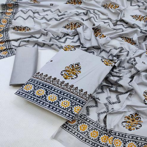 Pleasance Grey Colored Partywear Printed Cotton Dress Material