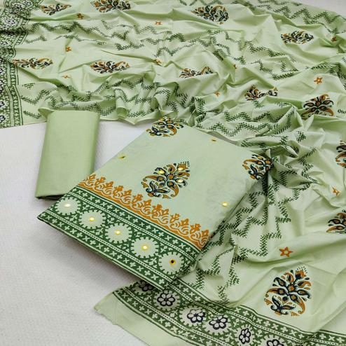 Ethnic Green Colored Partywear Printed Cotton Dress Material