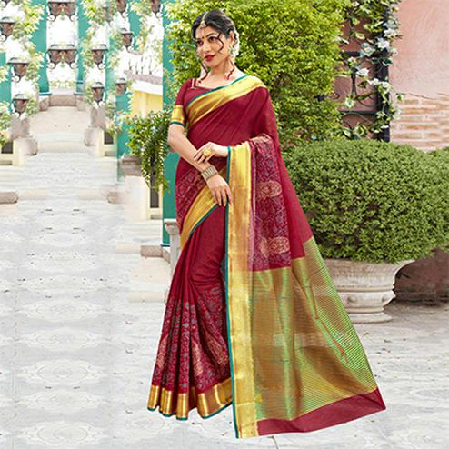 Maroon Festive Wear Cotton Silk Saree