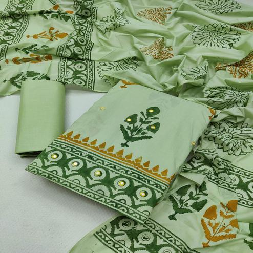 Surpassing Green Colored Partywear Printed Cotton Dress Material