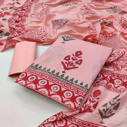 Intricate Pink Colored Partywear Printed Cotton Dress Material