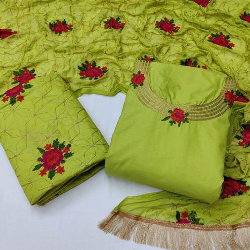 Desirable Green Colored Festive Wear Woven Cotton Dress Material