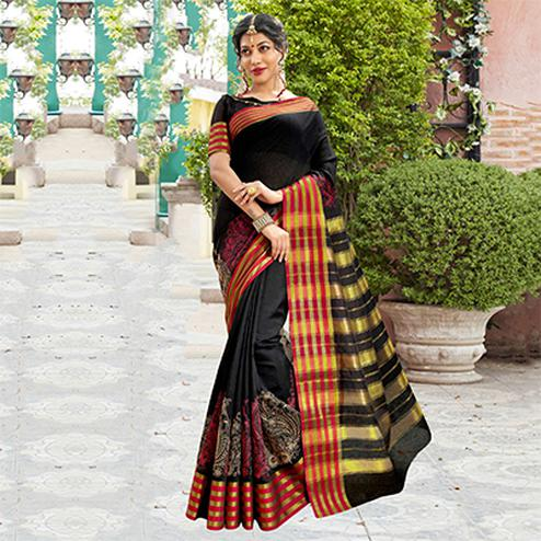 Black Festive Wear Cotton Silk Saree