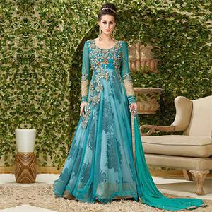 Stunning Rama Colored Designer Embroidered Net-Banglori Silk Anarkali Suit