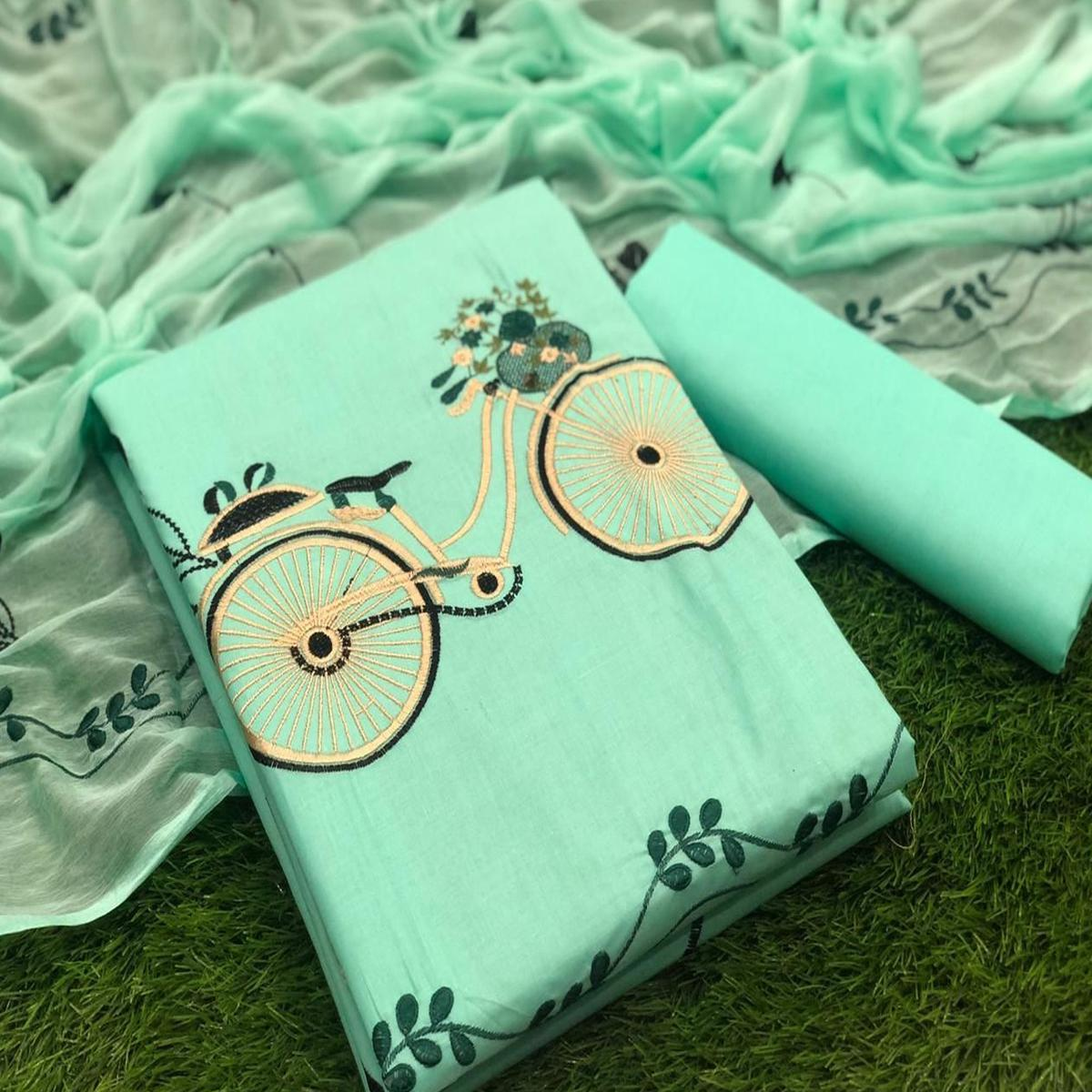 Demanding Light Blue Colored Casual Wear Emboidered Cotton Dress Material