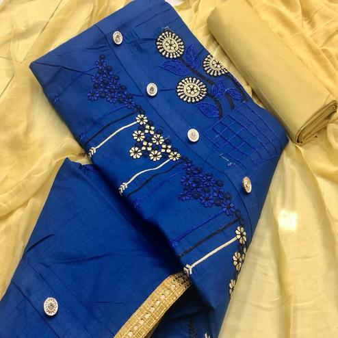 Magnetic Blue Colored Partywear Emboidered Cotton Dress Material