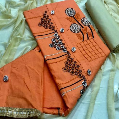 Flattering Orange Colored Partywear Emboidered Cotton Dress Material