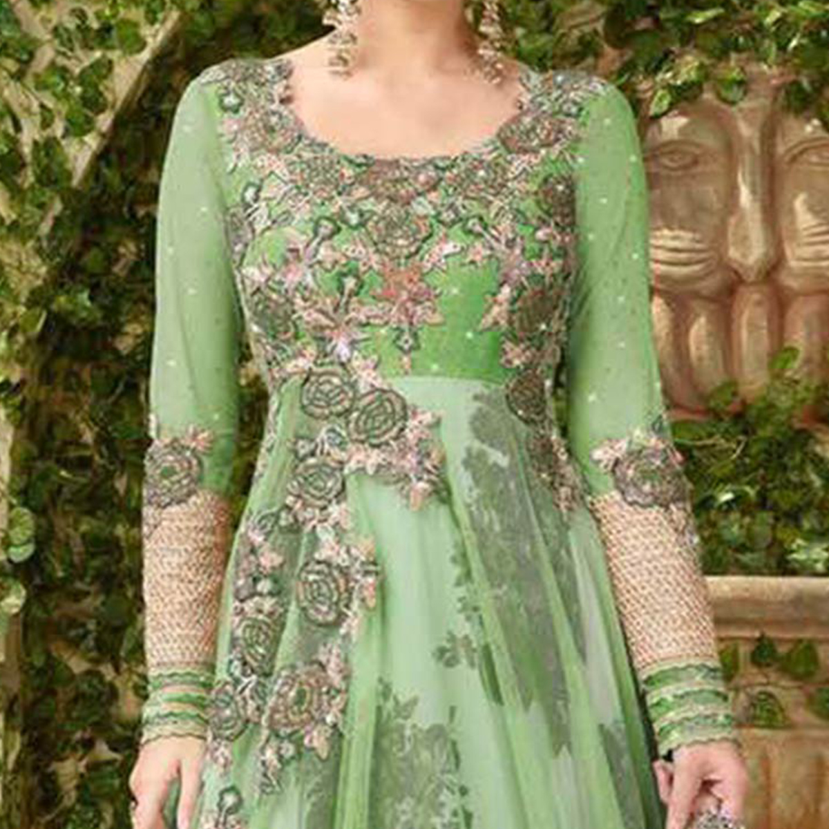 Sizzling Green Colored Designer Embroidered Net-Banglori Silk Anarkali Suit