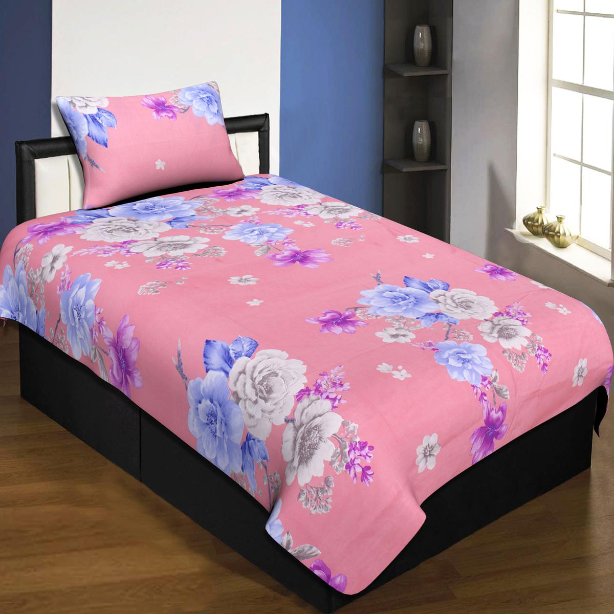 Jaipur Fabric Pink Colored Floral Single Bedsheet With 1 Pillow Cover