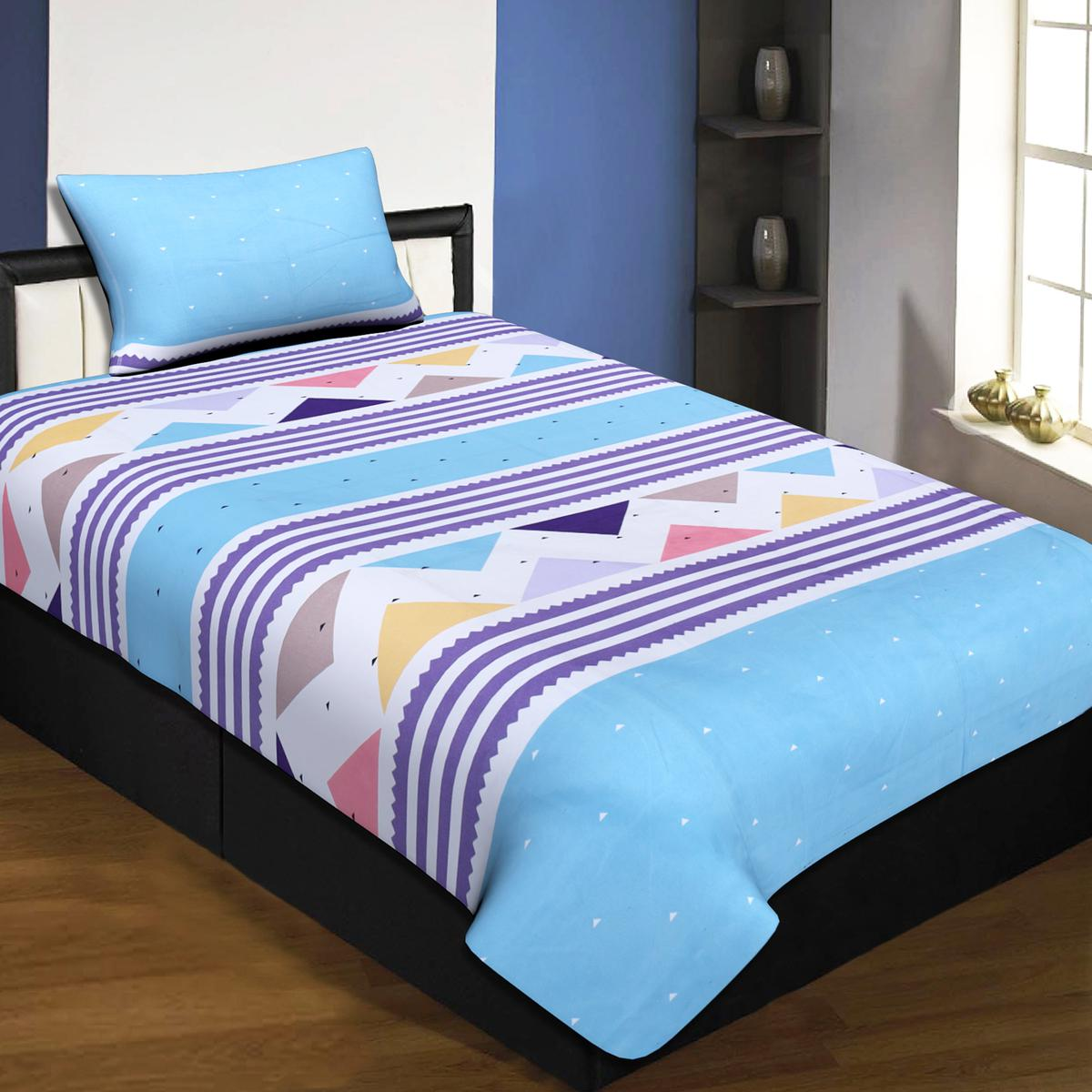 Jaipur Fabric Blue Colored Zig-Zag Blues Single Bedsheet With 1 Pillow Cover