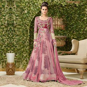 Dazzling Pink Colored Designer Embroidered Net-Banglori Silk Anarkali Suit