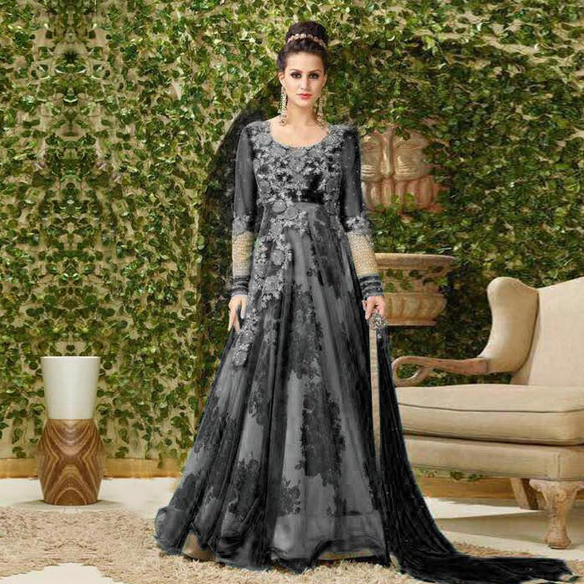 Elegant Black Colored Designer Embroidered Net-Banglori Silk Anarkali Suit