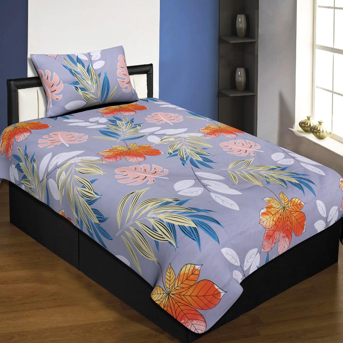 Jaipur Fabric Light Grey Colored Single Bedsheet With 1 Pillow Cover
