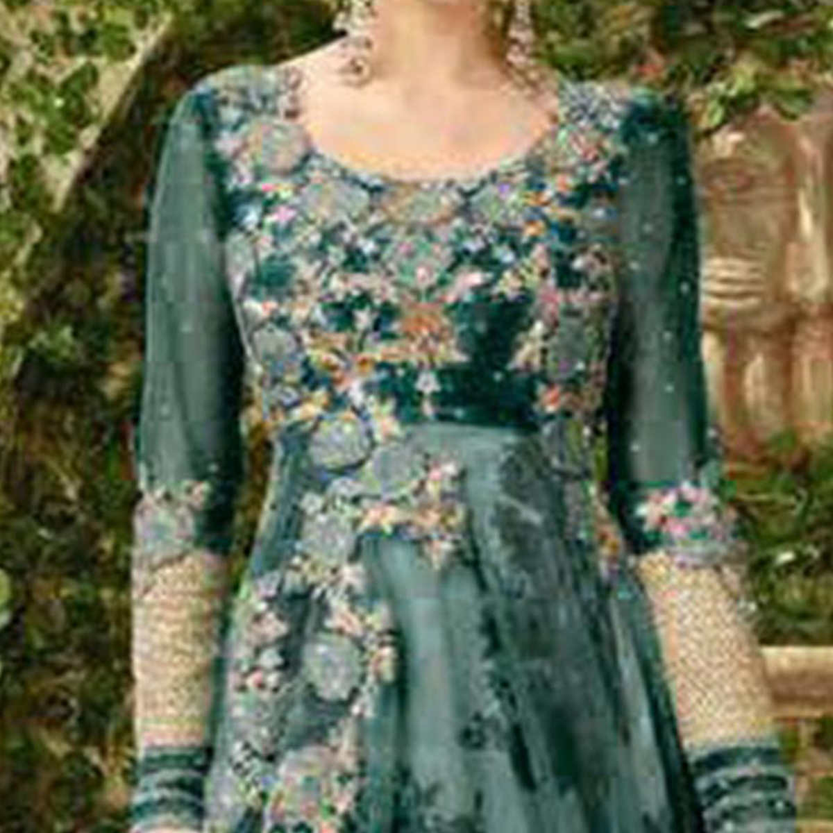 Blooming Dark Green Colored Designer Embroidered Net-Banglori Silk Anarkali Suit