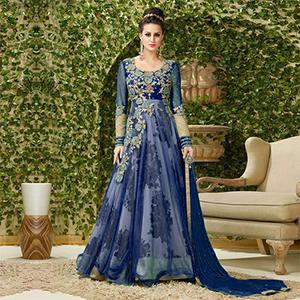 Attractive Blue Colored Designer Embroidered Net-Banglori Silk Anarkali Suit