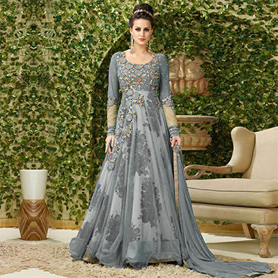 Graceful Gray Colored Designer Embroidered Net-Banglori Silk Anarkali Suit