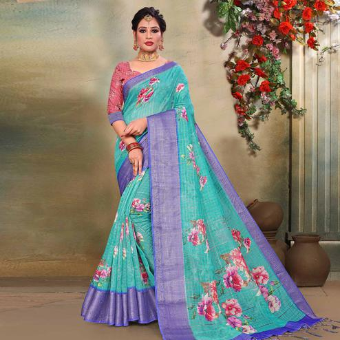Lovely Blue Colored Festive Wear Digital Printed Linen Saree
